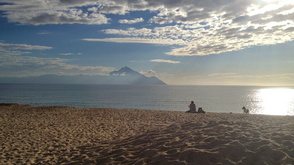 View of Mt Athos from Sarti beach